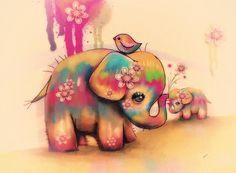 Vintage Tie Dye Elephants Painting by Karin Taylor - Vintage Tie Dye Elephants Fine Art Prints and Posters for Sale Elephant Love, Elephant Art, Disney Elephant, Baby Elephant Drawing, Elephant Paintings, Baby Elephant Tattoo, Watercolor Elephant Tattoos, Colorful Elephant Tattoo, Elefante Tattoo