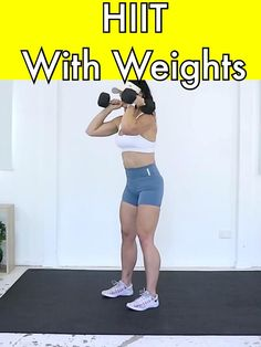 Grab your dumbbells and get ready to sweat with th Fitness Inspiration, Hiit Workouts With Weights, Gym Workout Videos, Best Hiit Workout, Butt Workout, Full Body Dumbbell Workout, Fitness Design, Fat Burning Workout, Fitness Tips