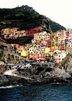 Romantic Cinque Terre Italy. Photograph. Rainbow. by seardig