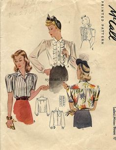 Vintage 1941 Button Front Blouse...Optional Ruffled Front...Sleeve Variation...McCalls 4175 Bust 32