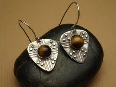 Light Up Your Life Earrings  Fine Silver Tiger Eyes by Silvermaven, $36.00