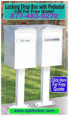 Pedestal-Mail-Drop-Box-White