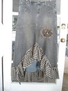Reduced Plus Size 19/20 Black Denim Upcycled Jean by LandofBridget