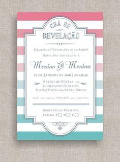 Convite Digital Chá de Fraldas 29 Convite Chá de Revelação, tema retrô, listrado, diferente, moderno, colorido, elegante.