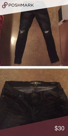 Lucky brand black skinny jeans! Black skinny jeans with distressing. Worn only a couple of times but too small after washing once! 😢 Lucky Brand Jeans Skinny