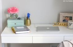 Computer and lamp cords can make even a neat desk look messy! Here's how to hide desk cords the easy way.