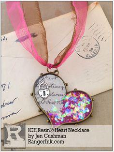 ICE Resin® Heart Necklace tutorial by Jen Cushman Resin Jewlery, Making Resin Jewellery, Resin Necklace, Clay Jewelry, Jewelry Crafts, Beaded Jewelry, Handmade Jewelry, Jewelry Ideas, Necklaces