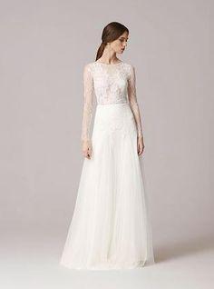Wildflower Bridal   Asheville Bridal Gowns   Anna Kara long sleeves wedding gown lace wedding dress www.wildflowerbridal.com