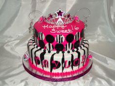 pink, black, and white (zebra print style)