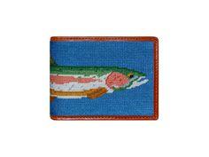 Rainbow Trout Needlepoint Bi-Fold Wallet   Smathers & Branson