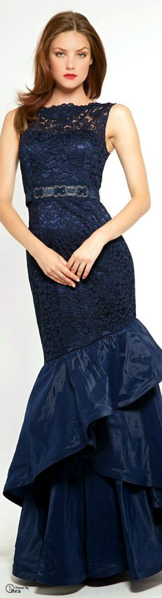 Teri Jon ● Belted Lace Mermaid Gown. V