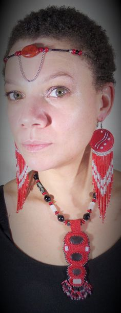Multicultural inspired headband, earrings and necklace. Fiery, Bohemian, Goddess Made and modeled by Faith Williams