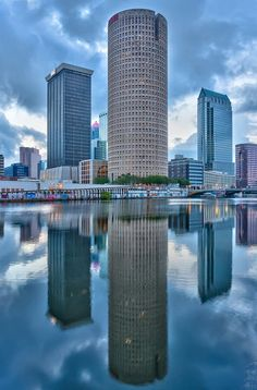 Tampa Florida the Sykes building which is the round looking one is where my boyfriend Graham used to work when he lived in Tampa last year the view from his office was beautiful