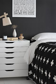 bedrooms - Ikea Alex Drawer Unit on Casters - White black paint white washed plank floor wood lamp Black white bedroom with black paint color,