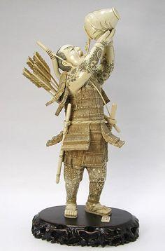 Wine Drinking Samurai, Mammoth Ivory Carving
