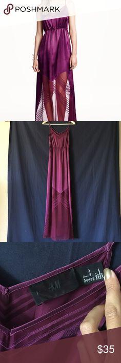 H&M Satin Maxi dress EUC. Worn once for a dinner party. Beautiful deep purple color. Adjustable straps. Size 2. H&M Dresses