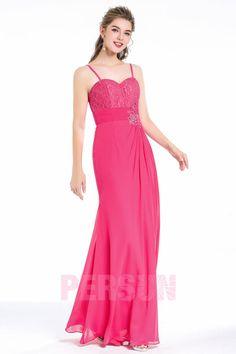 903ddaab690 Robe longue de soirée rose fuchsia longue de soirée bustier coeur avec  bretelles fines ornée de