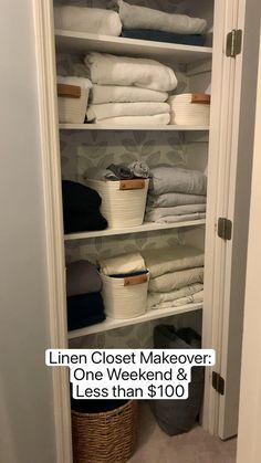 Linen Closet Organization, Home Organization Hacks, Bathroom Cabinet Organization, Bed In Closet, Hallway Closet, Diy Home Decor On A Budget, House Ideas On A Budget, Small House Storage Ideas, Small Closet Storage