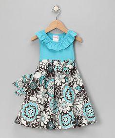 Loving this Blue Floral Dress - Infant & Girls on #zulily! #zulilyfinds