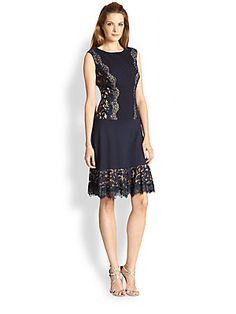 Tadashi Shoji Lace-Overlay Flared Dress