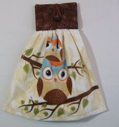 Hanging Kitchen Towel Kitchen Towel with Owl by PatsysPatchwork