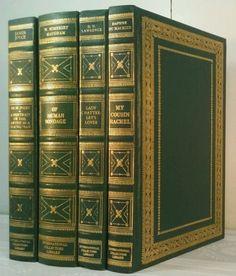 1960s-D-H-LAWRENCE-Vintage-GREEN-GOLD-4-Book-Lot-Decorative-Set-OF-HUMAN-BONDAGE