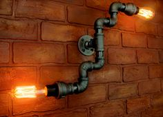 Pipe industrial Lighting / Wall Art, Steampunk Wall light edison bulb - Unique Wall sconce light fixture, industiral black pipe light