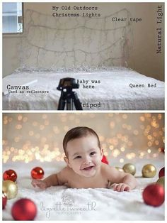 Christmas photo idea -- baby on bed with ornaments & lights