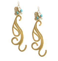 Turquoise and Coin Scroll Earrings - Devon Leigh Design