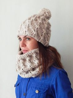 Alpaca bulky oversized knit hat and snood set by SanniKnitting