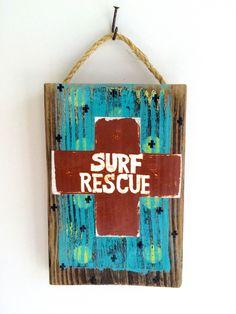 Surf Rescue Beach Sign on Reclaimed Wood Beach Decor Beach Baby Nursery Kids Room Decoupage Wall Hanging Beach House Beach Sea Art Mangoseed