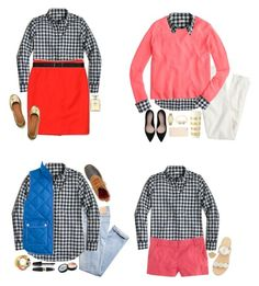 """""""How to wear gingham button downs"""" by classicallyclaire ❤ liked on Polyvore featuring J.Crew, AG Adriano Goldschmied, Chanel, Tory Burch, Theory, Zara, Kate Spade, L.L.Bean, Max Factor and Jack Rogers Winter Vest Outfits, Max Factor, Jack Rogers, Adriano Goldschmied, Gingham, Theory, Button Downs, Tory Burch, J Crew"""