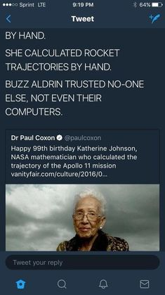 Katherine Johnson NASA Mathematician (Taraji P. Henson pkays her in the Motion Picture Hidden Figures ( Katherine Johnson NASA Mathematician (Taraji P. Henson pkays her in the Motion Picture Hidden Figures ( Model Tips, Katherine Johnson, Carina Nebula, By Any Means Necessary, Black History Facts, Black History Quotes, Mejor Gif, Faith In Humanity Restored, The More You Know