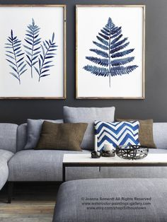 Fern Leaves Navy Blue Poster, Abstract Minimalist Watercolour Painting, Ferns Botanical Shibori Art Print, Kitchen Wall Decor Illustration