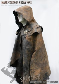 Post Apocalypse wasteland rubber cloak for airsoft - LARP. Fully waterproof with detachable hood. Made by Mark Cordory Creations, enquiries always welcome @ www.markcordory.com