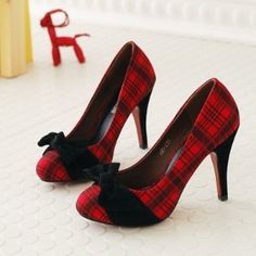 Red plaid heels.