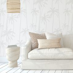 Neutral Palms (Grey) Removable Wallpaper Grey Removable Wallpaper, Wallpaper Panels, Brick Rendering, Half Walls, Designer Wallpaper, Palms, Neutral, How To Remove, Colours
