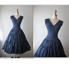 50's Evening Dress // Vintage 1950's Navy Taffeta Full Bombshell Cocktail Party New Look Dress XS by TheVintageStudio on Etsy