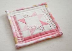 Mini Patchwork Quilt Name Tag