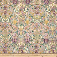 Designed by Peggy Toole for Robert Kaufman, this cotton print fabric is perfect for quilting, apparel and home decor accents. Colors include shades of purple, shades of teal, gold, tan and ivory with gold metallic accents.