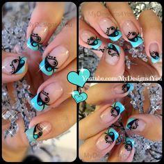 Valentine's Day Nail Art | Blue and Black French ♥ Дизайн Ногтей на День Валентина