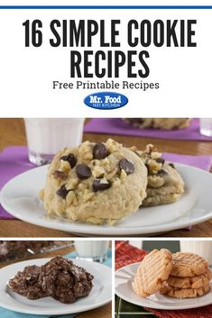 Looking for a quick and easy treat? Check out our list of 16 simple cookie recipes. You'll find an easy cookie recipe to love. Holiday Cookie Recipes, Easy Cookie Recipes, Holiday Cookies, Mr Food Recipes, Christmas Cookie Exchange, Food Festival, Cookie Bars, Sweets, Baking