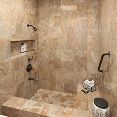 Mediterranean Home Shower Tub Combination Design  Pictures  Remodel  Decor  and Ideas  sunken tub Interesting way to separate shower and bath in a small bathroom  . Shower And Soaking Tub Combo. Home Design Ideas