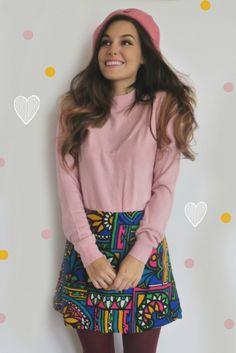 Marzia Bisognin | pink hat | pink sweater | colorful tribal pattern skirt | pink beret | purple leggings | hearts