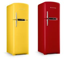 Red and yellow Brastemp #retro #refrigerators #fridges (don't bother clicking through; it's an exclusive blog you have to be invited to; sucks you know what)