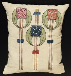 Arts & Crafts pillow (modern conversion from a laundry bag), H. Verran Company, Inc. Royal Society, No. 16 x 20 in. Craftsman Decor, Craftsman Interior, Craftsman Style, Embroidery Art, Embroidery Designs, Art Nouveau, Jugendstil Design, Arts And Crafts Furniture, Royal Society