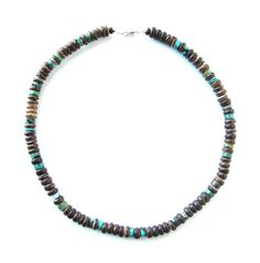 Men's necklace in natural turquoise and wood by AuthenticMen