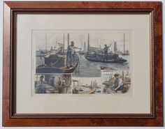 Oystering on Long Island.   Features individual views of blue point oyster fleet, mascot dock in Patchogue and culling oysters.  Original hand-colored wood engraving after F. Dielman drawing from Harper's Weekly, October 2, 1886.  Displayed in wood frame and UV protectant glass.
