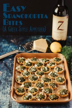 Traditional Greek flavors of the classic phyllo, spinach, and feta pie in a portable hand-held cup. Easy Spanokopita Bites come together so quickly with the help of ready-made phyllo cups, and taste like you worked Tapas Recipes, Greek Recipes, Appetizer Recipes, Real Food Recipes, Vegetarian Appetizers, Appetizer Ideas, Snack Recipes, Yummy Food, Game Day Appetizers