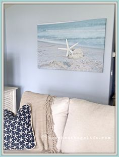 "Large 32x48"" gallery canvas ""Starfish Believe"" as displayed in my lovely client Minaz's home. ⚓ Beach House Cottage Coastal Chic Decor"